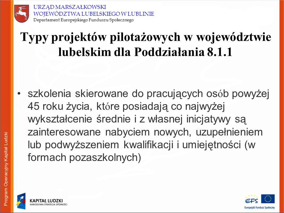 URZĄD MARSZAŁKOWSKI WOJEWÓDZTWA LUBELSKIEGO W LUBLINIE Departament Europejskiego Funduszu Społecznego Typy projektów pilotażowych w województwie lubel