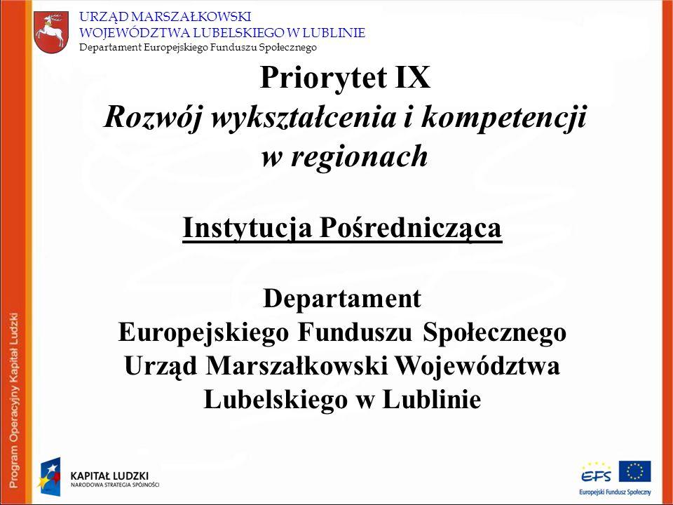 URZĄD MARSZAŁKOWSKI WOJEWÓDZTWA LUBELSKIEGO W LUBLINIE Departament Europejskiego Funduszu Społecznego Priorytet IX Rozwój wykształcenia i kompetencji