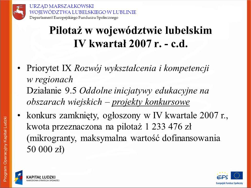 URZĄD MARSZAŁKOWSKI WOJEWÓDZTWA LUBELSKIEGO W LUBLINIE Departament Europejskiego Funduszu Społecznego Pilotaż w województwie lubelskim IV kwartał 2007