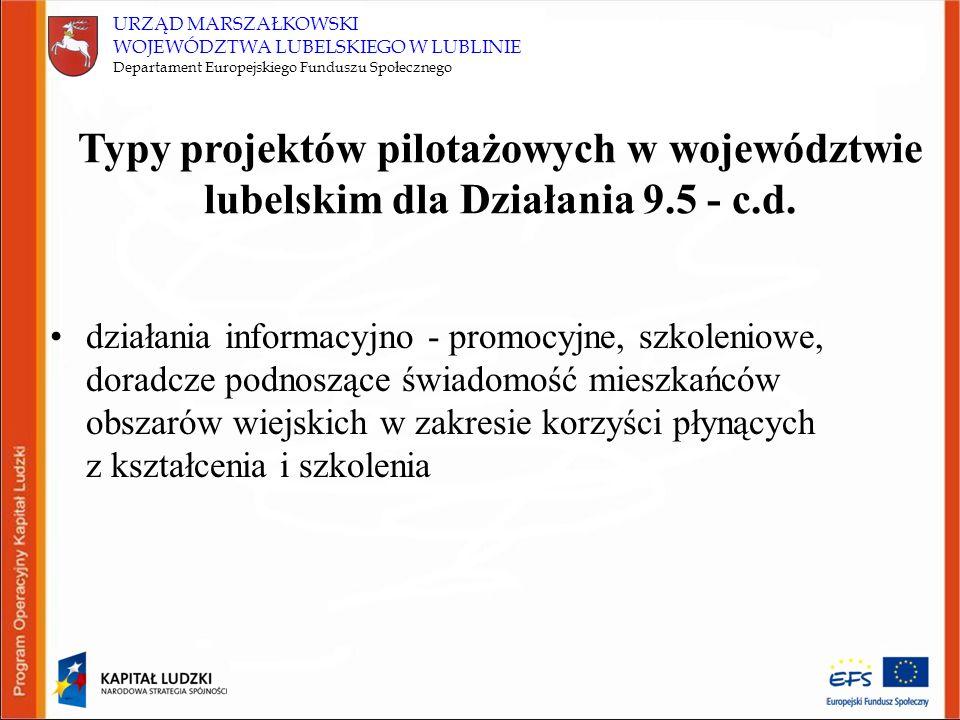 URZĄD MARSZAŁKOWSKI WOJEWÓDZTWA LUBELSKIEGO W LUBLINIE Departament Europejskiego Funduszu Społecznego działania informacyjno - promocyjne, szkoleniowe
