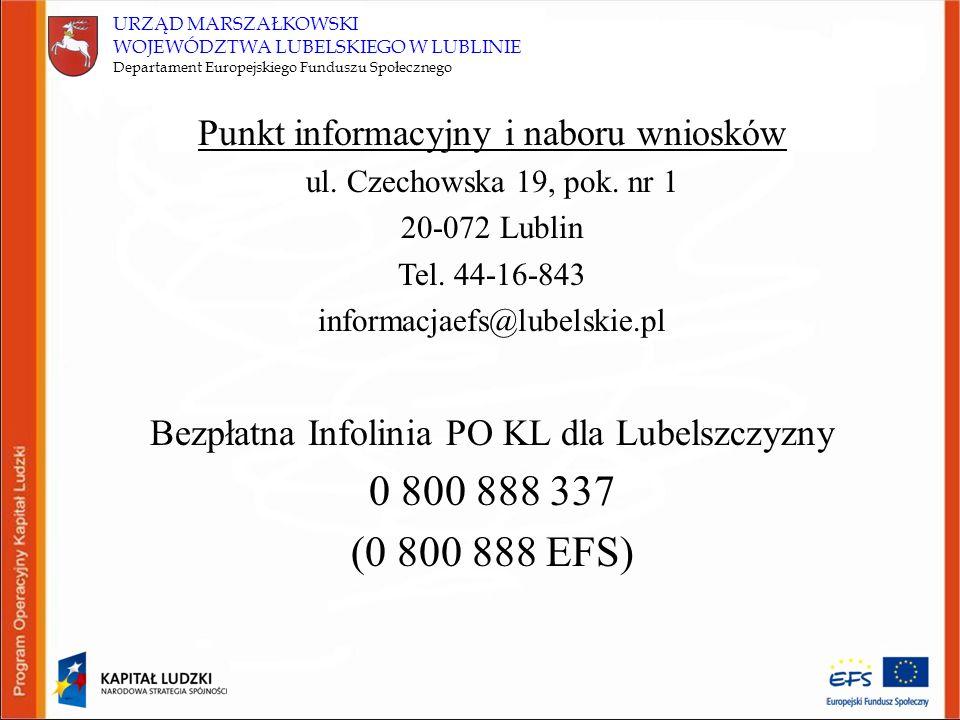 URZĄD MARSZAŁKOWSKI WOJEWÓDZTWA LUBELSKIEGO W LUBLINIE Departament Europejskiego Funduszu Społecznego Punkt informacyjny i naboru wniosków ul.