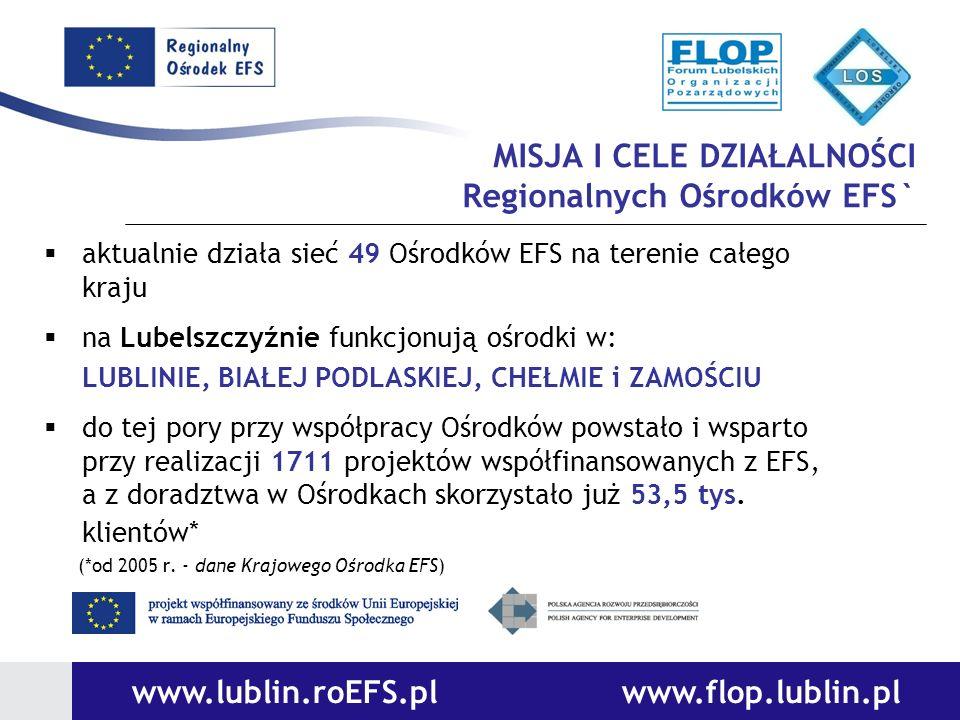 MISJA I CELE DZIAŁALNOŚCI Regionalnych Ośrodków EFS` aktualnie działa sieć 49 Ośrodków EFS na terenie całego kraju na Lubelszczyźnie funkcjonują ośrod