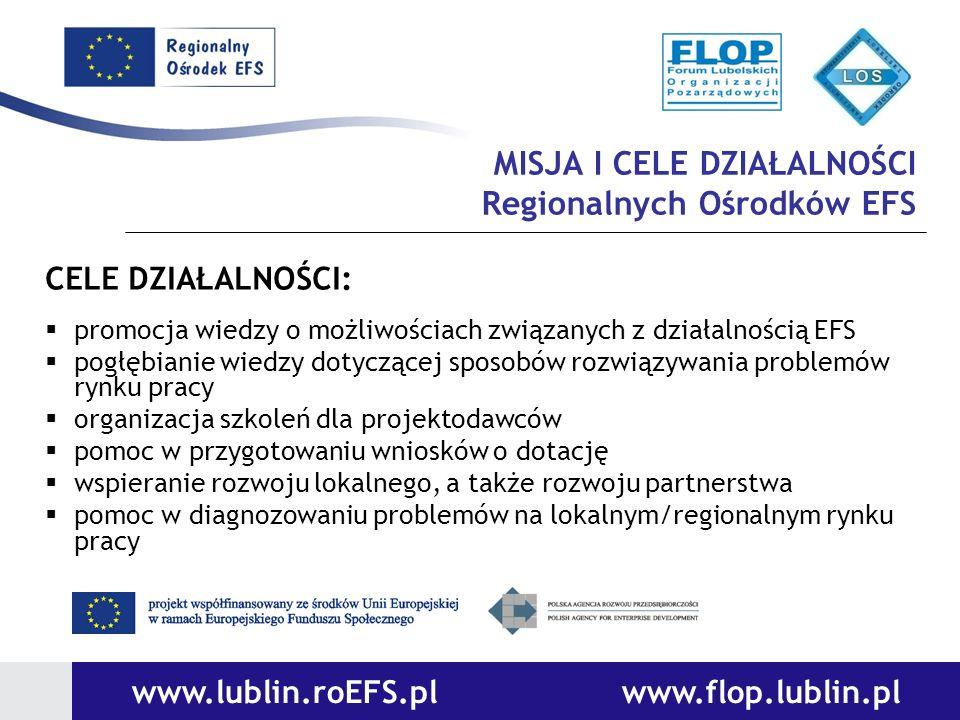 MISJA I CELE DZIAŁALNOŚCI Regionalnych Ośrodków EFS CELE DZIAŁALNOŚCI: promocja wiedzy o możliwościach związanych z działalnością EFS pogłębianie wied
