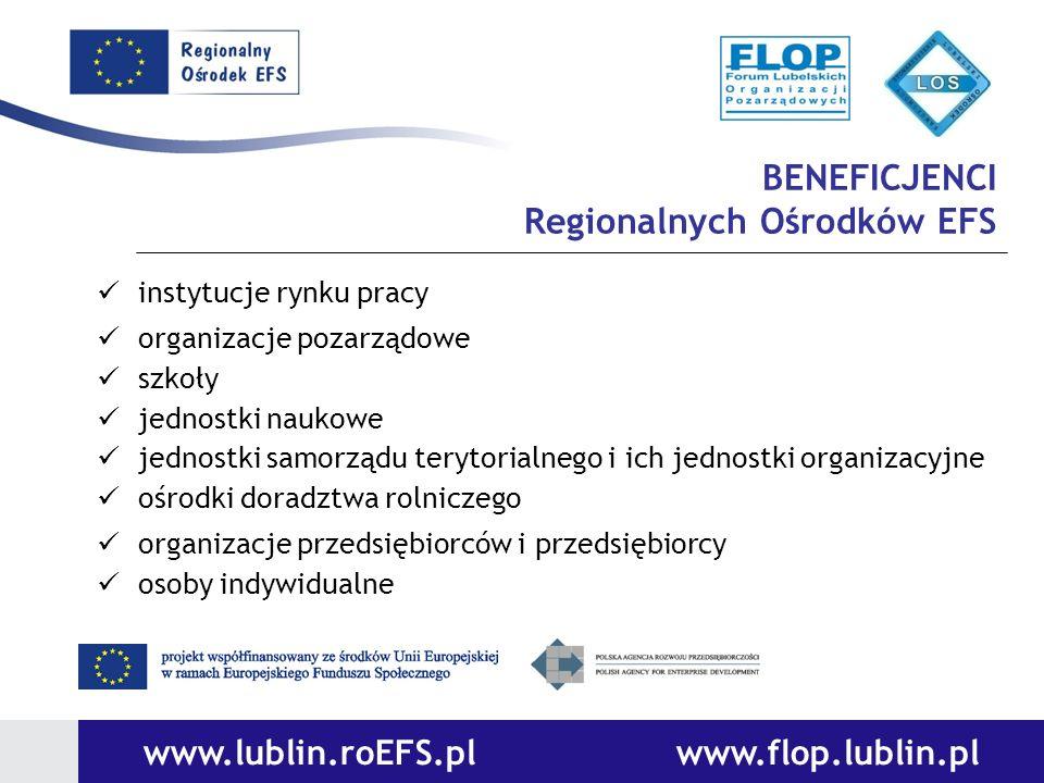BENEFICJENCI Regionalnych Ośrodków EFS instytucje rynku pracy organizacje pozarządowe szkoły jednostki naukowe jednostki samorządu terytorialnego i ic