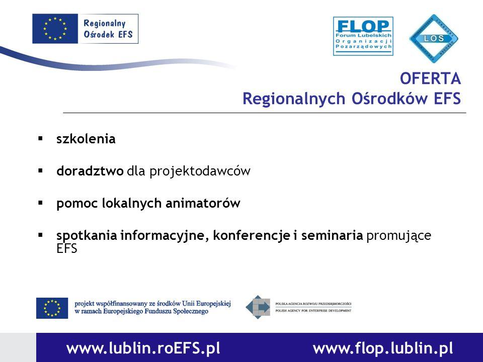 OFERTA Regionalnych Ośrodków EFS szkolenia doradztwo dla projektodawców pomoc lokalnych animatorów spotkania informacyjne, konferencje i seminaria pro