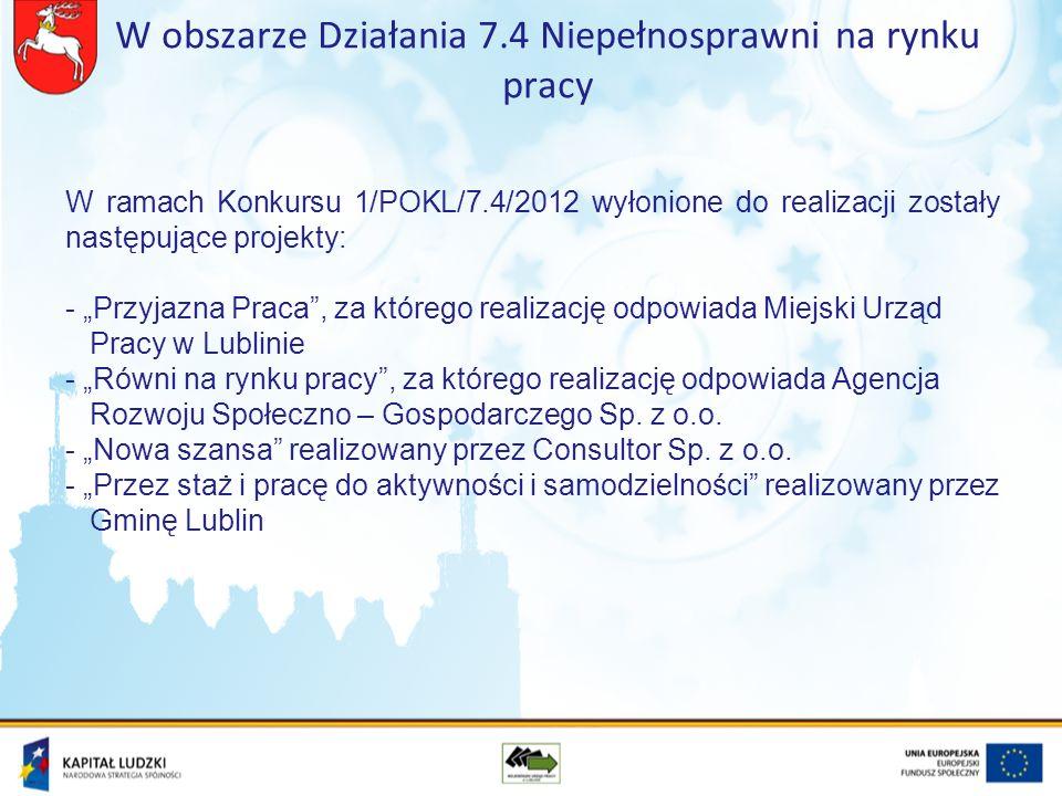 W ramach Konkursu 1/POKL/7.4/2012 wyłonione do realizacji zostały następujące projekty: - Przyjazna Praca, za którego realizację odpowiada Miejski Urząd Pracy w Lublinie - Równi na rynku pracy, za którego realizację odpowiada Agencja Rozwoju Społeczno – Gospodarczego Sp.