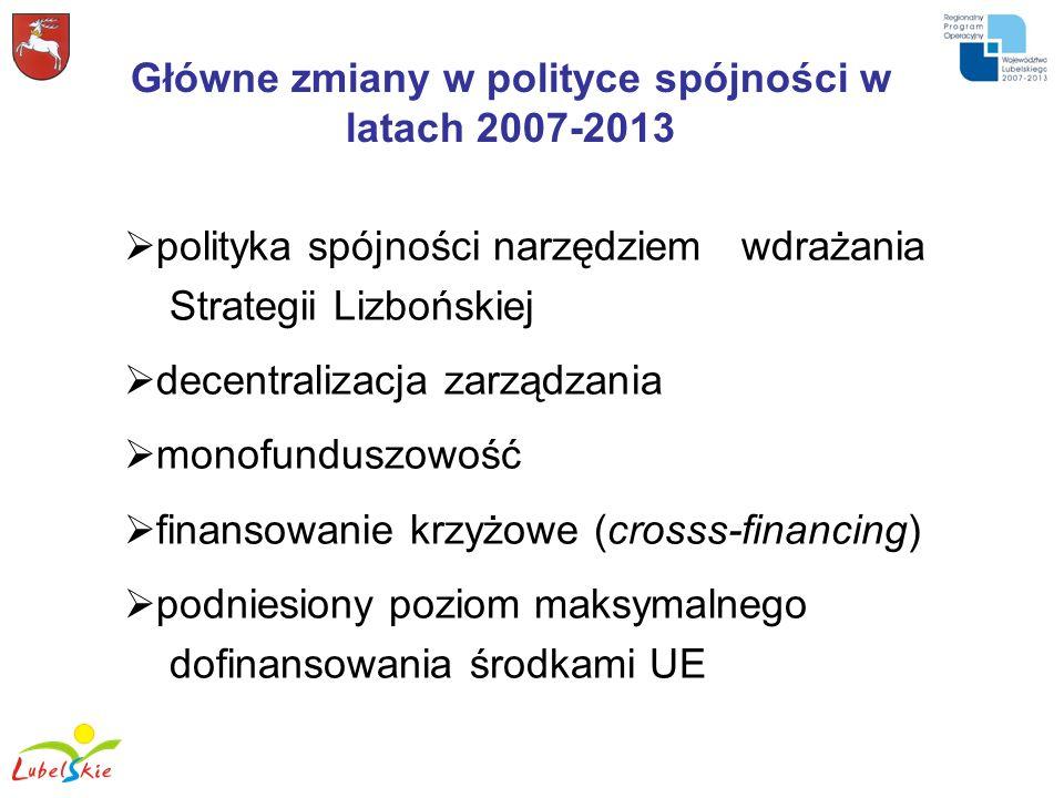 Główne zmiany w polityce spójności w latach 2007-2013 polityka spójności narzędziem wdrażania Strategii Lizbońskiej decentralizacja zarządzania monofu