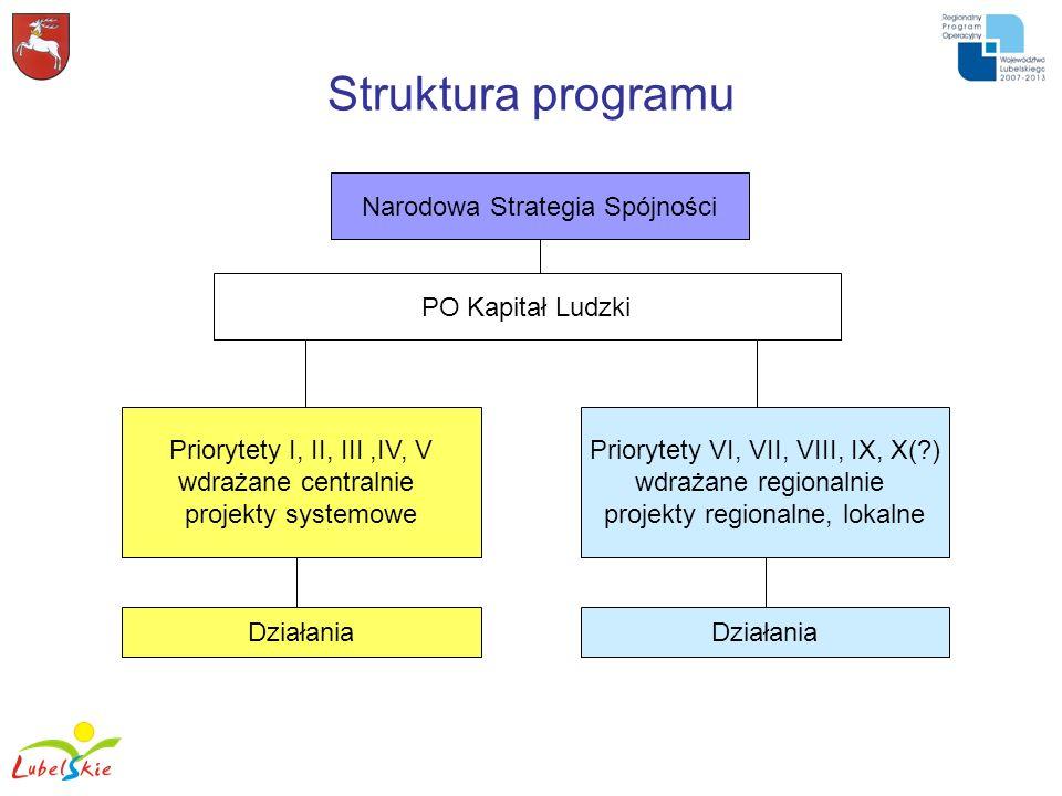 Struktura programu Narodowa Strategia Spójności PO Kapitał Ludzki Priorytety I, II, III,IV, V wdrażane centralnie projekty systemowe Priorytety VI, VI