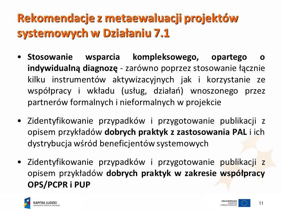 11 Rekomendacje z metaewaluacji projektów systemowych w Działaniu 7.1 Stosowanie wsparcia kompleksowego, opartego o indywidualną diagnozę - zarówno poprzez stosowanie łącznie kilku instrumentów aktywizacyjnych jak i korzystanie ze współpracy i wkładu (usług, działań) wnoszonego przez partnerów formalnych i nieformalnych w projekcie Zidentyfikowanie przypadków i przygotowanie publikacji z opisem przykładów dobrych praktyk z zastosowania PAL i ich dystrybucja wśród beneficjentów systemowych Zidentyfikowanie przypadków i przygotowanie publikacji z opisem przykładów dobrych praktyk w zakresie współpracy OPS/PCPR i PUP