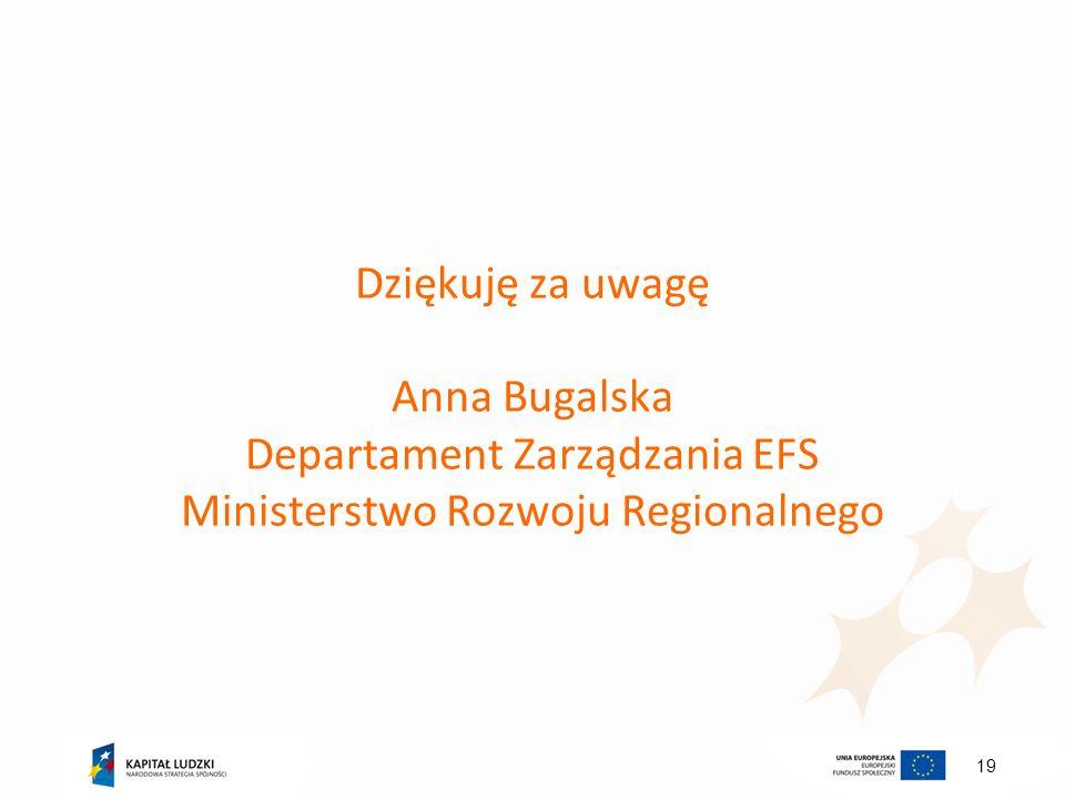19 Dziękuję za uwagę Anna Bugalska Departament Zarządzania EFS Ministerstwo Rozwoju Regionalnego