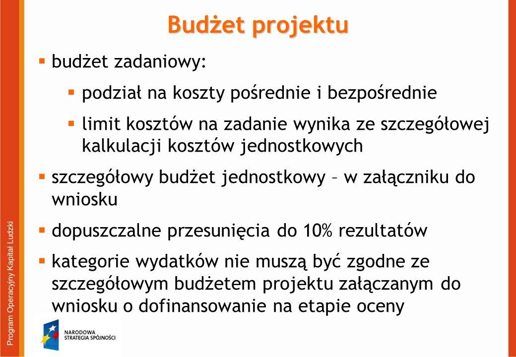 Budżet projektu budżet zadaniowy: podział na koszty pośrednie i bezpośrednie limit kosztów na zadanie wynika ze szczegółowej kalkulacji kosztów jednostkowych szczegółowy budżet jednostkowy – w załączniku do wniosku dopuszczalne przesunięcia do 10% rezultatów kategorie wydatków nie muszą być zgodne ze szczegółowym budżetem projektu załączanym do wniosku o dofinansowanie na etapie oceny