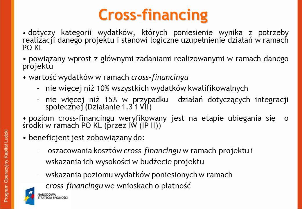 Cross-financing dotyczy kategorii wydatków, których poniesienie wynika z potrzeby realizacji danego projektu i stanowi logiczne uzupełnienie działań w ramach PO KL powiązany wprost z głównymi zadaniami realizowanymi w ramach danego projektu wartość wydatków w ramach cross-financingu –nie więcej niż 10% wszystkich wydatków kwalifikowalnych –nie więcej niż 15% w przypadku działań dotyczących integracji społecznej (Działanie 1.3 i VII) poziom cross-financingu weryfikowany jest na etapie ubiegania się o środki w ramach PO KL (przez IW (IP II)) beneficjent jest zobowiązany do: – oszacowania kosztów cross-financingu w ramach projektu i wskazania ich wysokości w budżecie projektu –wskazania poziomu wydatków poniesionych w ramach cross-financingu we wnioskach o płatność