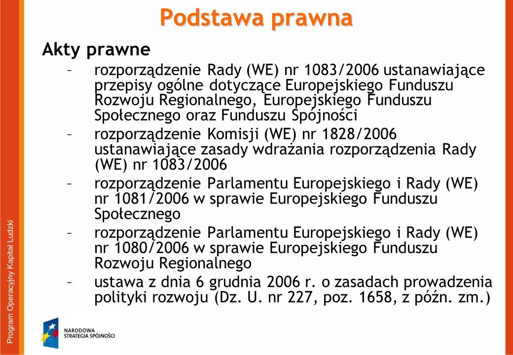 Podstawa prawna Akty prawne –rozporządzenie Rady (WE) nr 1083/2006 ustanawiające przepisy ogólne dotyczące Europejskiego Funduszu Rozwoju Regionalnego, Europejskiego Funduszu Społecznego oraz Funduszu Spójności –rozporządzenie Komisji (WE) nr 1828/2006 ustanawiające zasady wdrażania rozporządzenia Rady (WE) nr 1083/2006 –rozporządzenie Parlamentu Europejskiego i Rady (WE) nr 1081/2006 w sprawie Europejskiego Funduszu Społecznego –rozporządzenie Parlamentu Europejskiego i Rady (WE) nr 1080/2006 w sprawie Europejskiego Funduszu Rozwoju Regionalnego –ustawa z dnia 6 grudnia 2006 r.