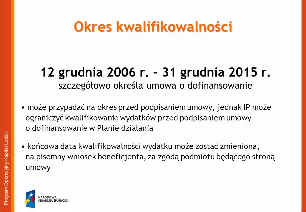 Okres kwalifikowalności 12 grudnia 2006 r. – 31 grudnia 2015 r.