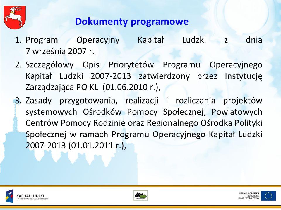 Dokumenty programowe 1.Program Operacyjny Kapitał Ludzki z dnia 7 września 2007 r.