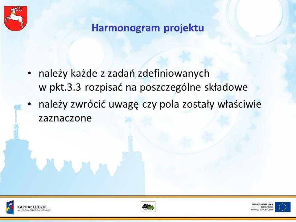 Harmonogram projektu należy każde z zadań zdefiniowanych w pkt.3.3 rozpisać na poszczególne składowe należy zwrócić uwagę czy pola zostały właściwie zaznaczone