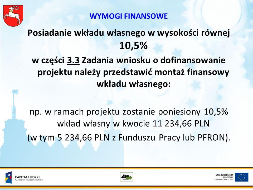 WYMOGI FINANSOWE Posiadanie wkładu własnego w wysokości równej 10,5% w części 3.3 Zadania wniosku o dofinansowanie projektu należy przedstawić montaż finansowy wkładu własnego: np.