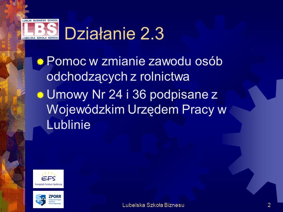 Lubelska Szkoła Biznesu2 Działanie 2.3 Pomoc w zmianie zawodu osób odchodzących z rolnictwa Umowy Nr 24 i 36 podpisane z Wojewódzkim Urzędem Pracy w Lublinie