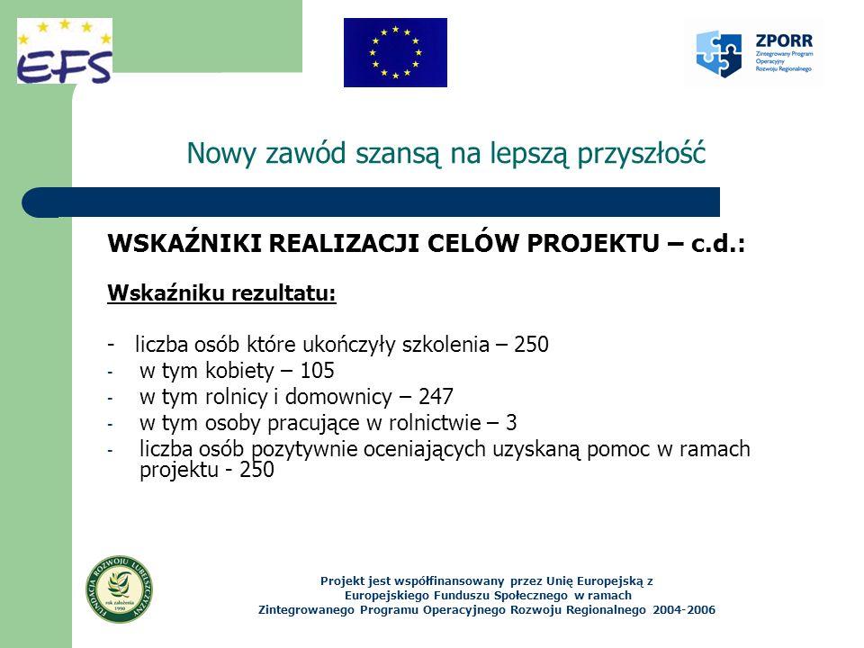 Nowy zawód szansą na lepszą przyszłość WSKAŹNIKI REALIZACJI CELÓW PROJEKTU – c.d.: Wskaźniku rezultatu: - liczba osób które ukończyły szkolenia – 250 - w tym kobiety – 105 - w tym rolnicy i domownicy – 247 - w tym osoby pracujące w rolnictwie – 3 - liczba osób pozytywnie oceniających uzyskaną pomoc w ramach projektu - 250 Projekt jest współfinansowany przez Unię Europejską z Europejskiego Funduszu Społecznego w ramach Zintegrowanego Programu Operacyjnego Rozwoju Regionalnego 2004-2006