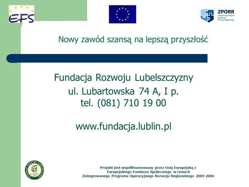 Nowy zawód szansą na lepszą przyszłość Projekt jest współfinansowany przez Unię Europejską z Europejskiego Funduszu Społecznego w ramach Zintegrowanego Programu Operacyjnego Rozwoju Regionalnego 2004-2006 ul.