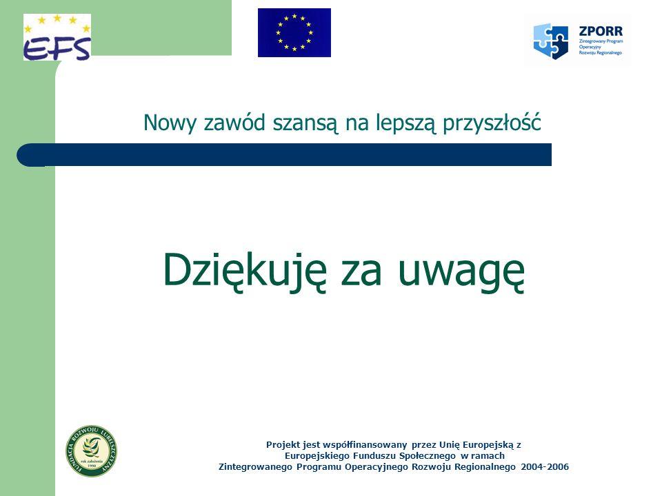 Nowy zawód szansą na lepszą przyszłość Projekt jest współfinansowany przez Unię Europejską z Europejskiego Funduszu Społecznego w ramach Zintegrowaneg