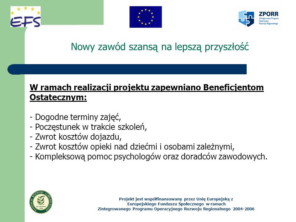 Nowy zawód szansą na lepszą przyszłość Projekt jest współfinansowany przez Unię Europejską z Europejskiego Funduszu Społecznego w ramach Zintegrowanego Programu Operacyjnego Rozwoju Regionalnego 2004-2006 W ramach realizacji projektu zapewniano Beneficjentom Ostatecznym: - Dogodne terminy zajęć, - Poczęstunek w trakcie szkoleń, - Zwrot kosztów dojazdu, - Zwrot kosztów opieki nad dziećmi i osobami zależnymi, - Kompleksową pomoc psychologów oraz doradców zawodowych.