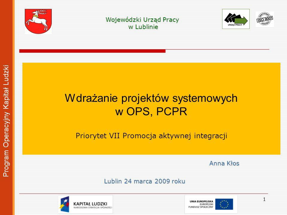 Wojewódzki Urząd Pracy w Lublinie w Lublinie Wdrażanie projektów systemowych w OPS, PCPR Priorytet VII Promocja aktywnej integracji Program Operacyjny