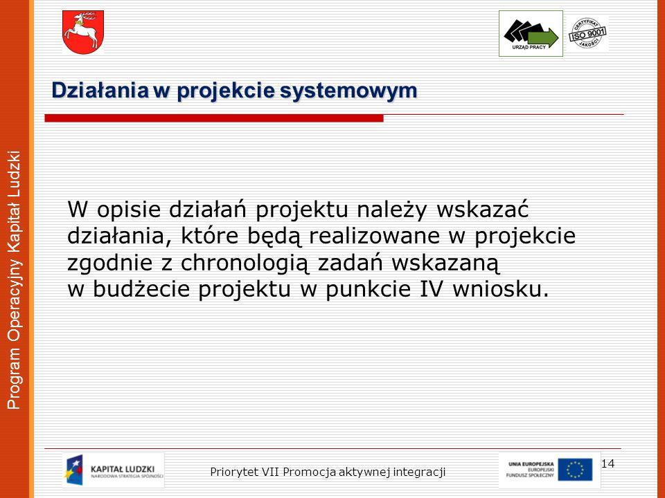 Program Operacyjny Kapitał Ludzki Działania w projekcie systemowym 14 Priorytet VII Promocja aktywnej integracji W opisie działań projektu należy wska