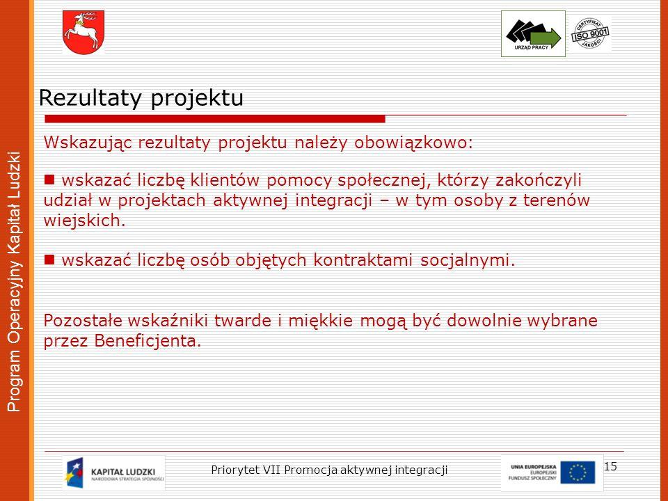Program Operacyjny Kapitał Ludzki 15 Priorytet VII Promocja aktywnej integracji Rezultaty projektu Wskazując rezultaty projektu należy obowiązkowo: ws
