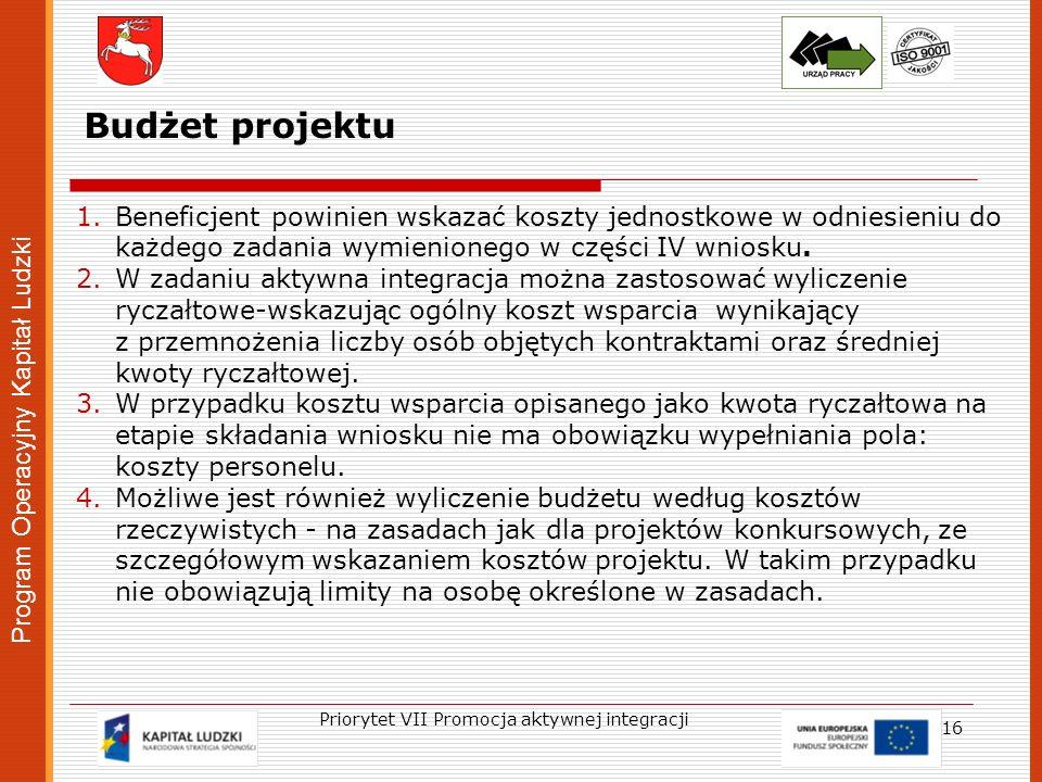 Program Operacyjny Kapitał Ludzki 16 Priorytet VII Promocja aktywnej integracji Budżet projektu 1.Beneficjent powinien wskazać koszty jednostkowe w od