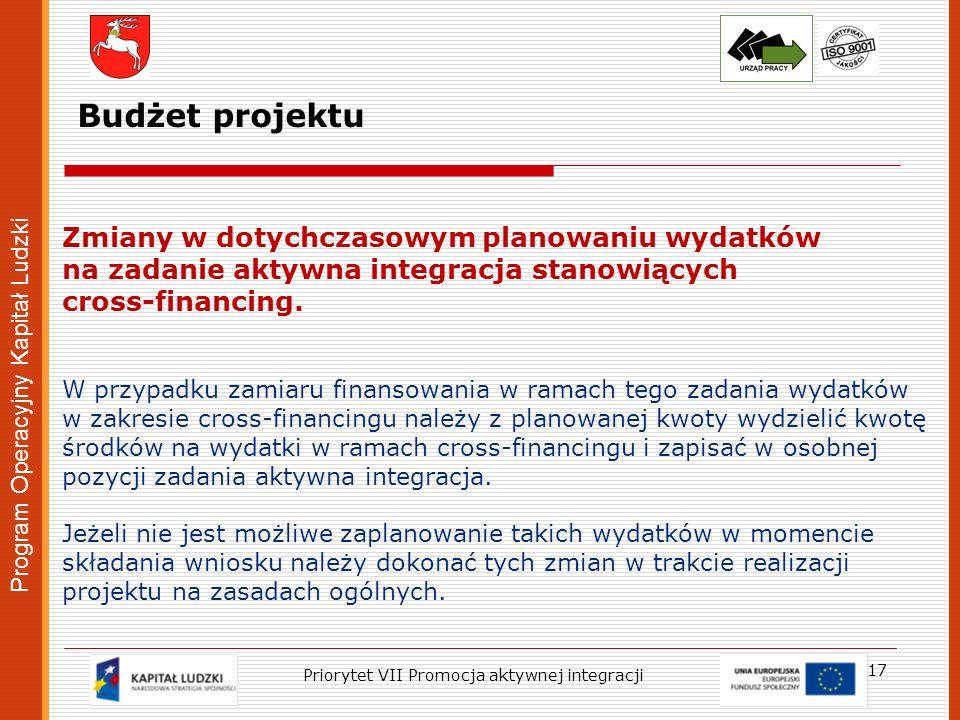Program Operacyjny Kapitał Ludzki 17 Priorytet VII Promocja aktywnej integracji Zmiany w dotychczasowym planowaniu wydatków na zadanie aktywna integra