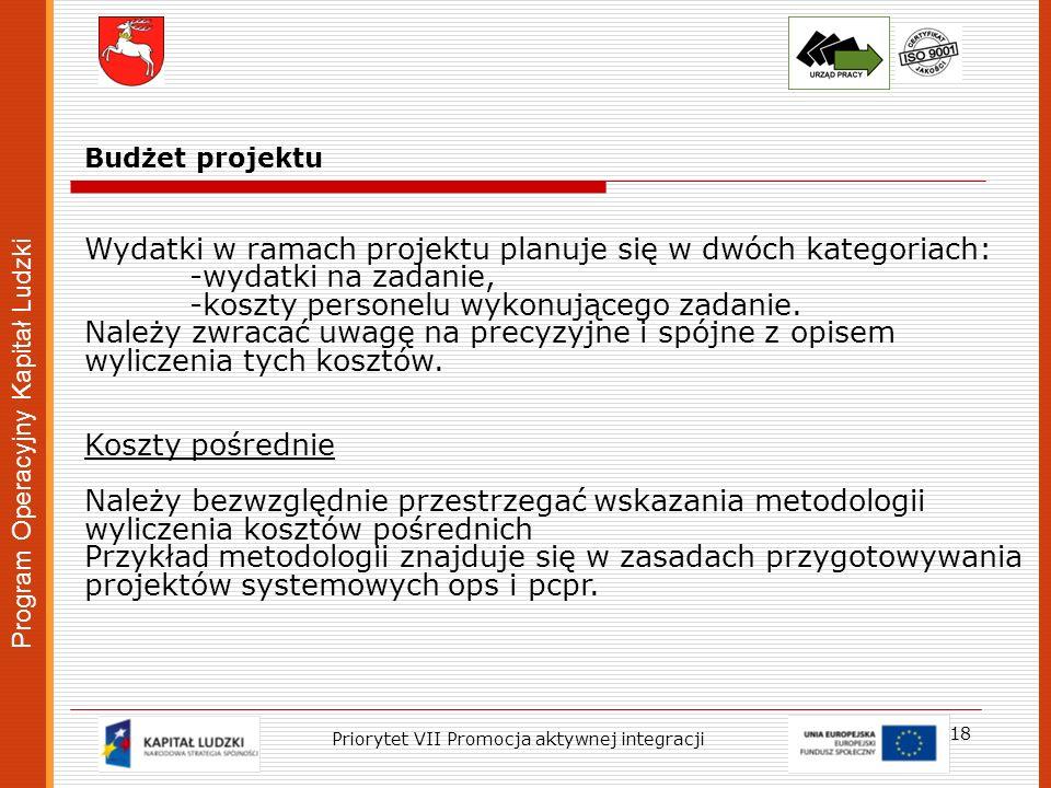 Program Operacyjny Kapitał Ludzki 18 Priorytet VII Promocja aktywnej integracji Budżet projektu Wydatki w ramach projektu planuje się w dwóch kategori