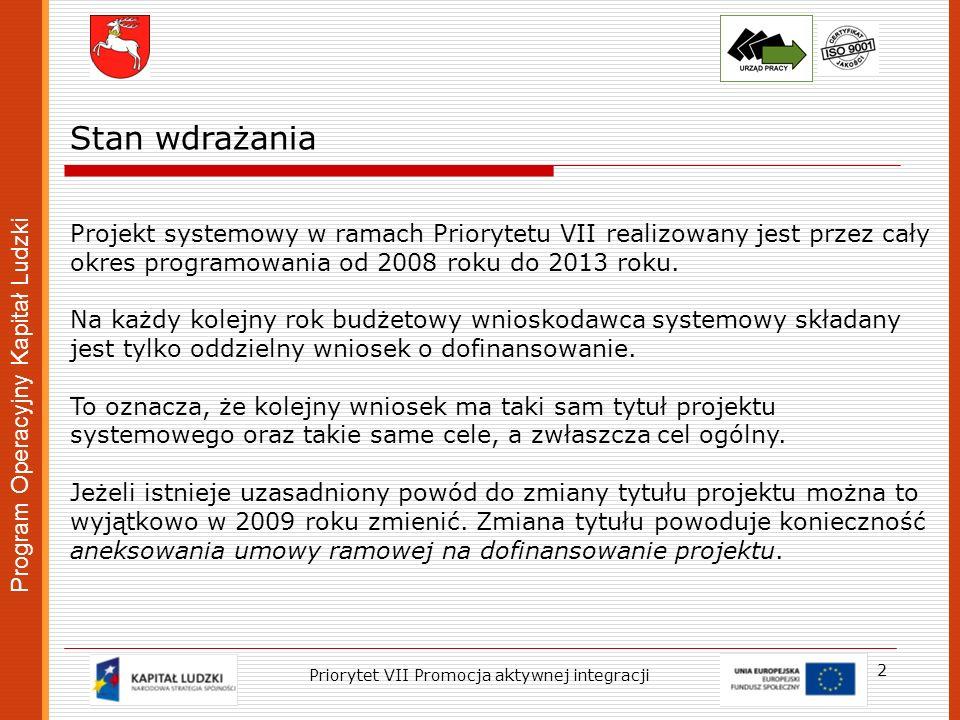 Program Operacyjny Kapitał Ludzki 2 Stan wdrażania Projekt systemowy w ramach Priorytetu VII realizowany jest przez cały okres programowania od 2008 r