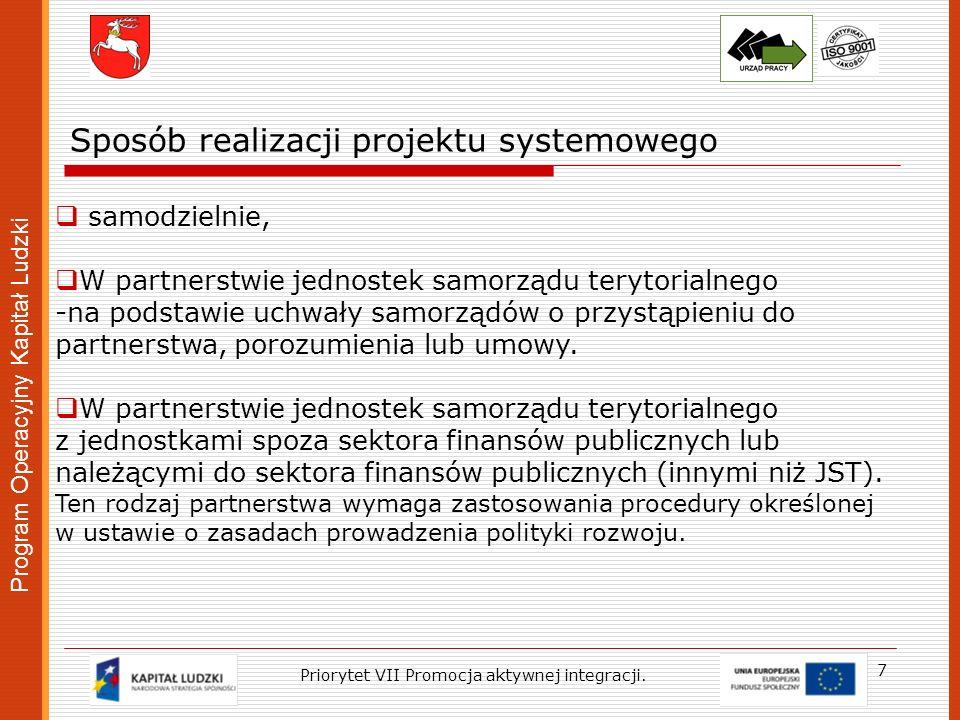 Program Operacyjny Kapitał Ludzki 18 Priorytet VII Promocja aktywnej integracji Budżet projektu Wydatki w ramach projektu planuje się w dwóch kategoriach: -wydatki na zadanie, -koszty personelu wykonującego zadanie.