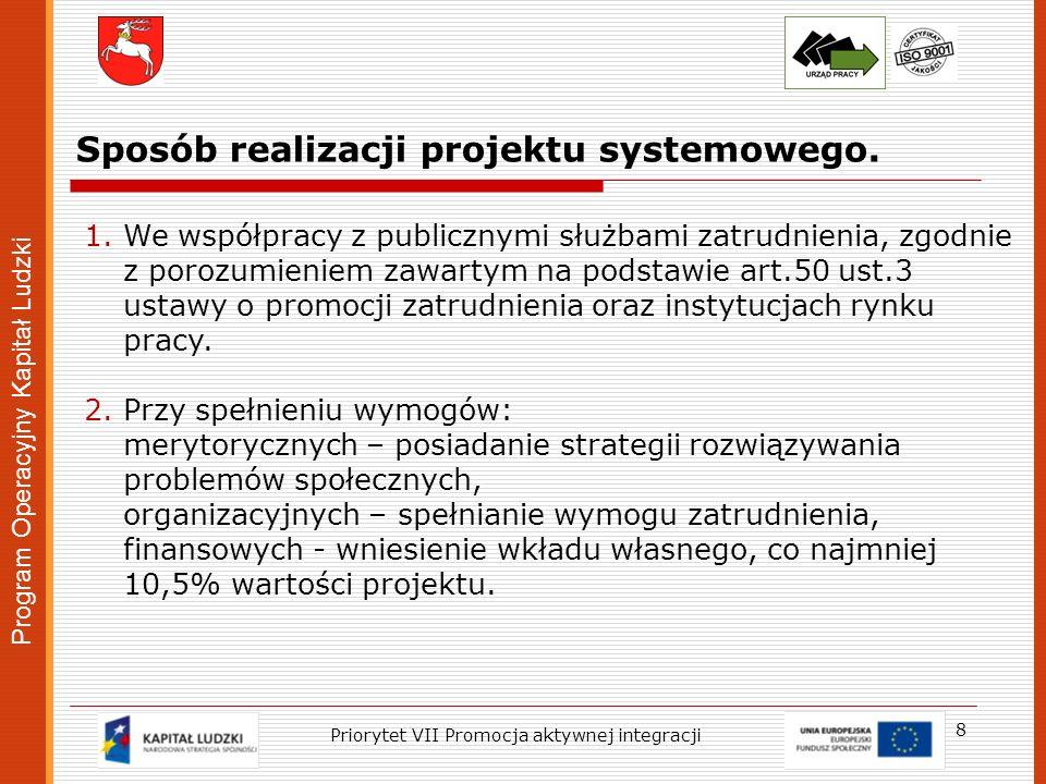Program Operacyjny Kapitał Ludzki Sposób realizacji projektu systemowego. 8 1.We współpracy z publicznymi służbami zatrudnienia, zgodnie z porozumieni