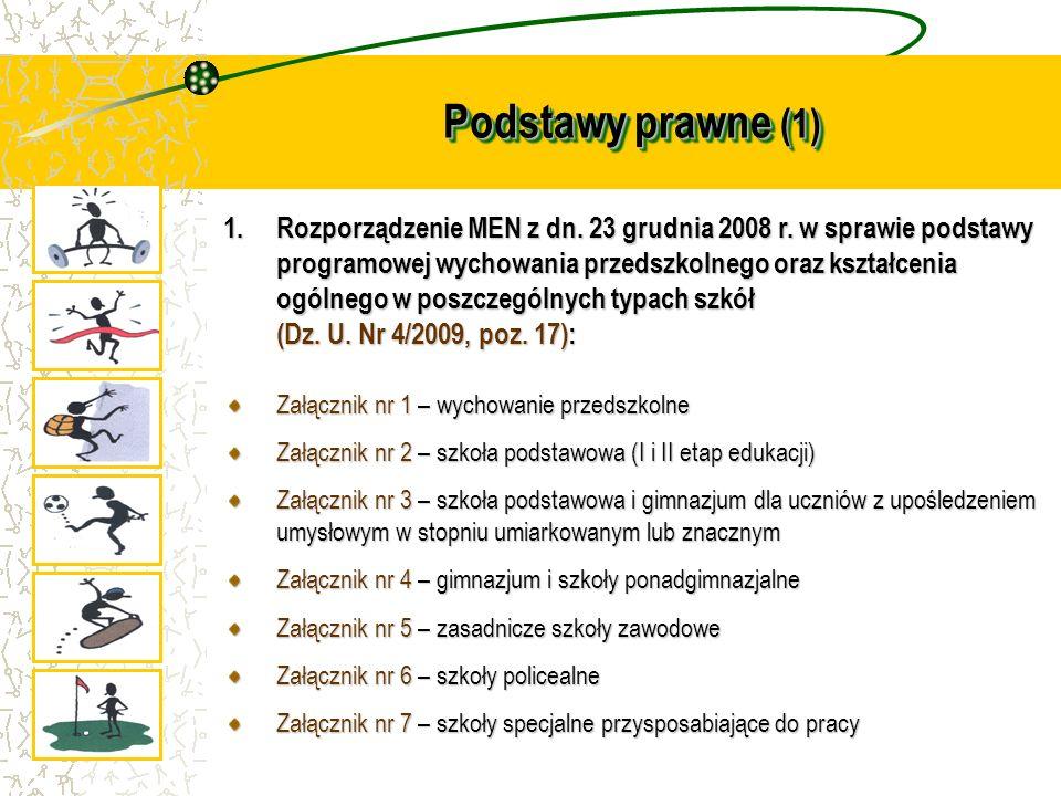 Podstawy prawne (1) 1.Rozporządzenie MEN z dn. 23 grudnia 2008 r. w sprawie podstawy programowej wychowania przedszkolnego oraz kształcenia ogólnego w