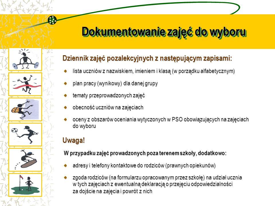 Dokumentowanie zajęć do wyboru Dziennik zajęć pozalekcyjnych z następującym zapisami: lista uczniów z nazwiskiem, imieniem i klasą (w porządku alfabet