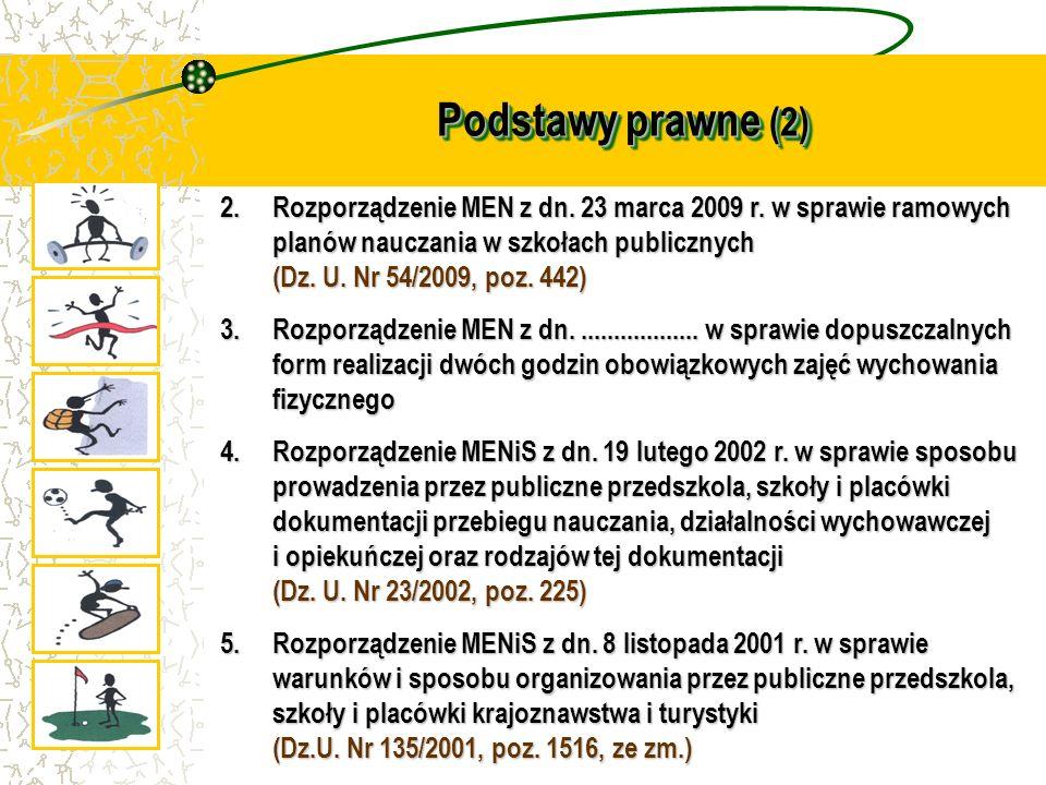 Podstawy prawne (2) 2.Rozporządzenie MEN z dn. 23 marca 2009 r. w sprawie ramowych planów nauczania w szkołach publicznych (Dz. U. Nr 54/2009, poz. 44