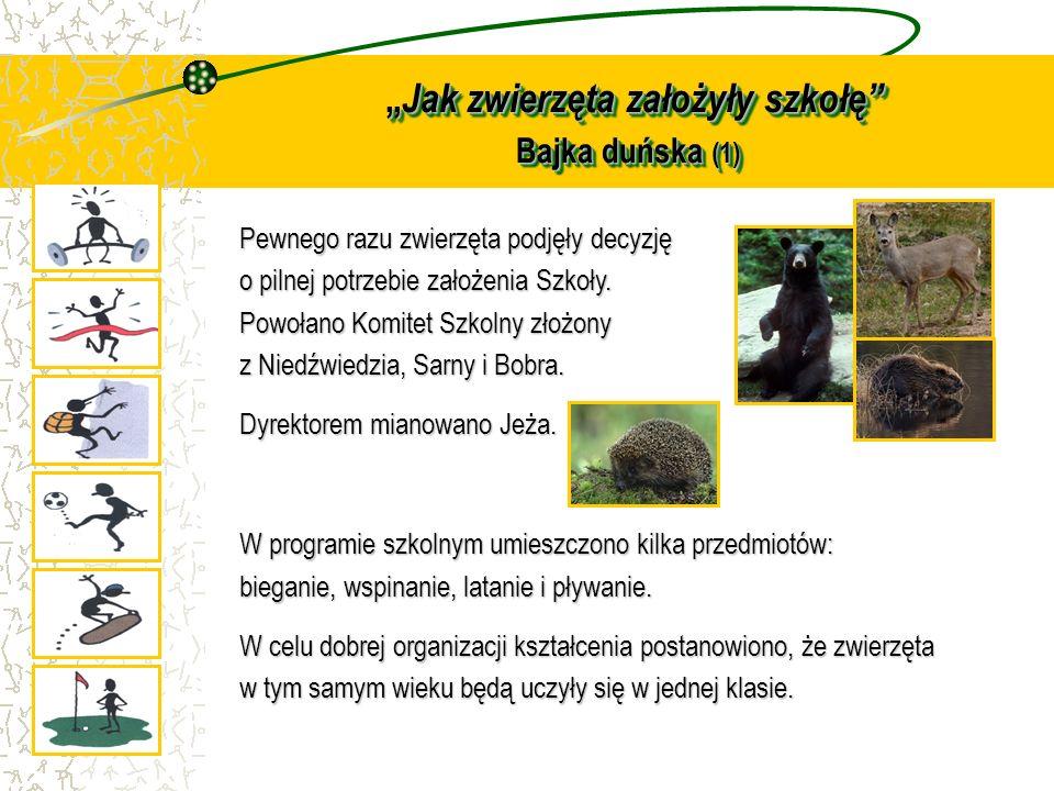 Jak zwierzęta założyły szkołę Bajka duńska (1) Jak zwierzęta założyły szkołę Bajka duńska (1) Pewnego razu zwierzęta podjęły decyzję o pilnej potrzebi