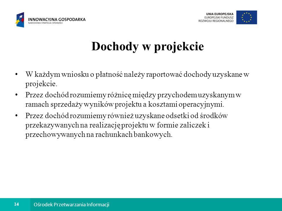 14 Ośrodek Przetwarzania Informacji Dochody w projekcie W każdym wniosku o płatność należy raportować dochody uzyskane w projekcie.