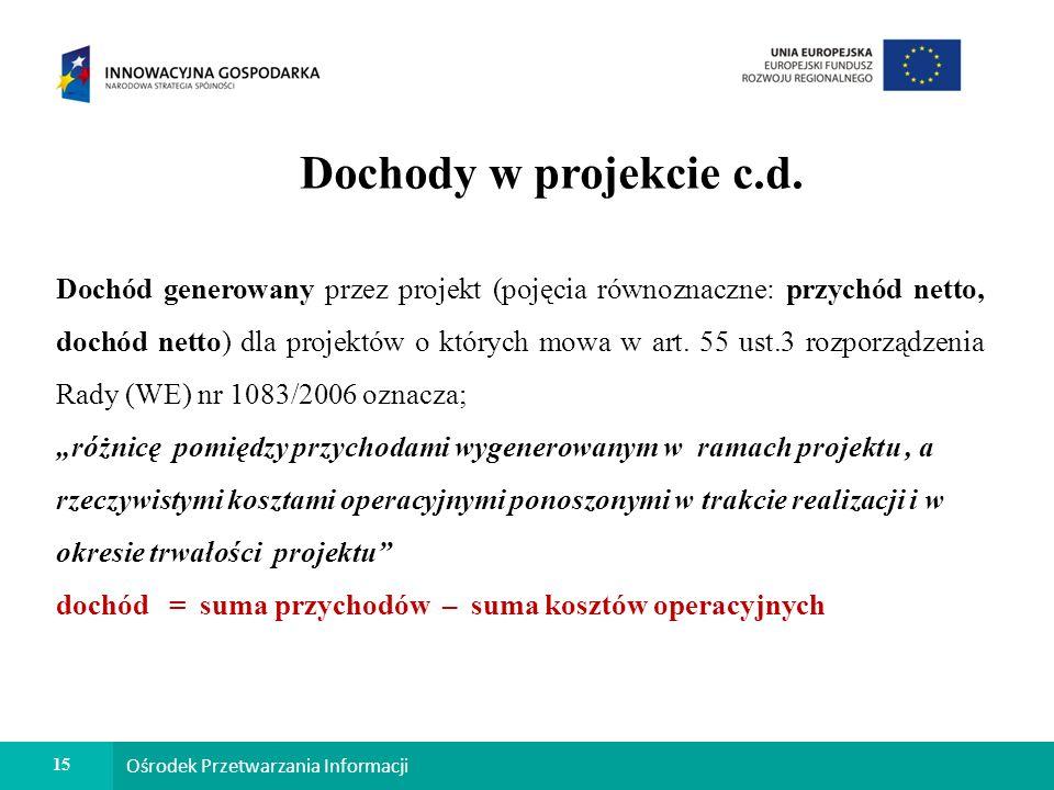 15 Ośrodek Przetwarzania Informacji Dochody w projekcie c.d.