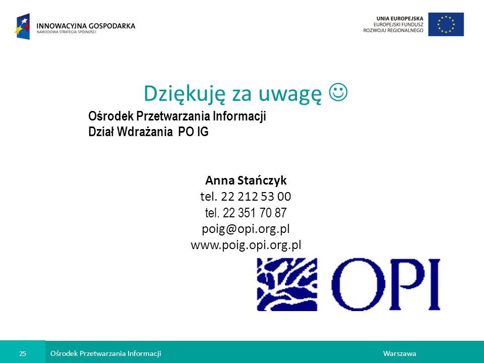 Ośrodek Przetwarzania Informacji 25 Warszawa Dziękuję za uwagę Ośrodek Przetwarzania Informacji Dział Wdrażania PO IG Anna Stańczyk tel.