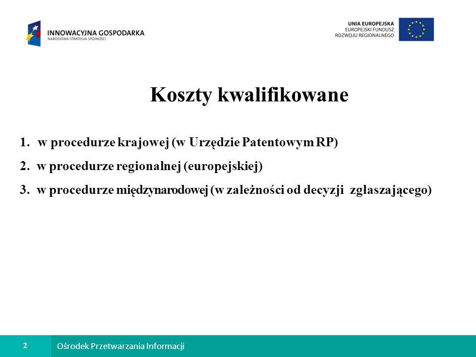 2 Ośrodek Przetwarzania Informacji Koszty kwalifikowane 1.w procedurze krajowej (w Urzędzie Patentowym RP) 2.