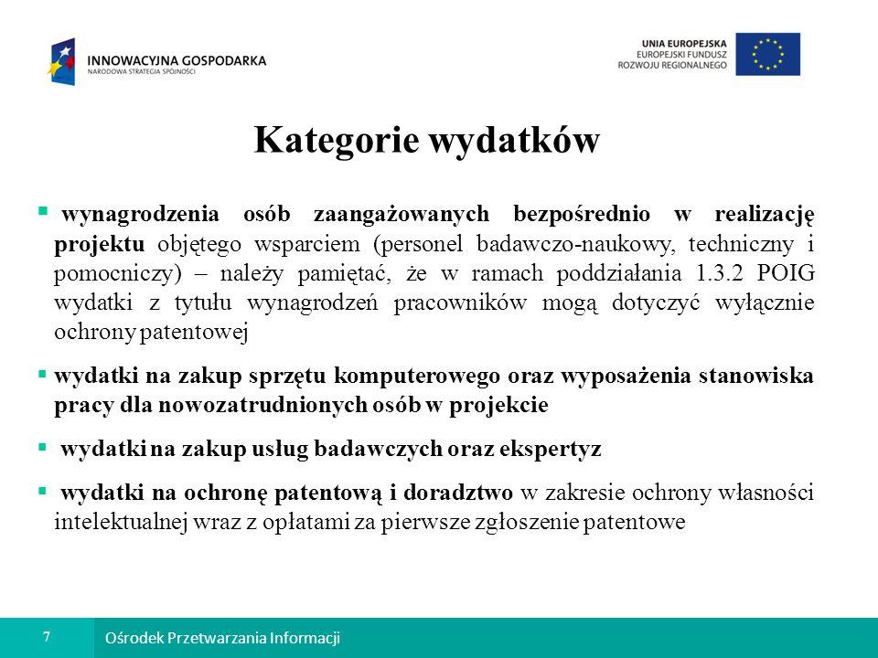 8 Ośrodek Przetwarzania Informacji Kategorie wydatków c.d.