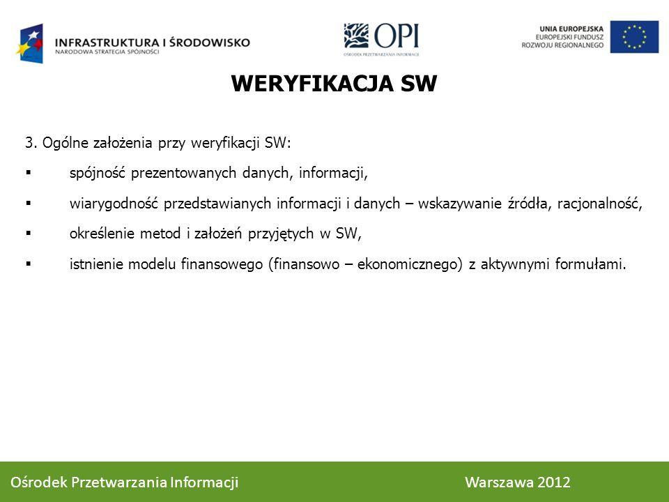WERYFIKACJA SW 3. Ogólne założenia przy weryfikacji SW: spójność prezentowanych danych, informacji, wiarygodność przedstawianych informacji i danych –