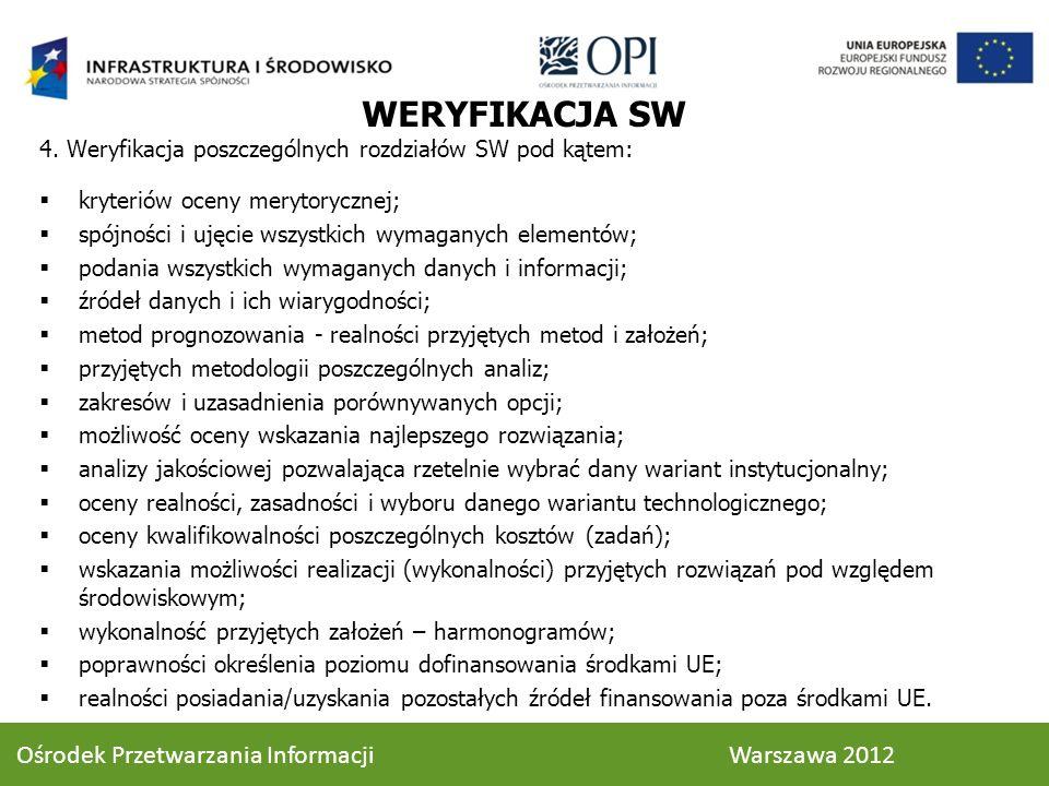 WERYFIKACJA SW 4. Weryfikacja poszczególnych rozdziałów SW pod kątem: kryteriów oceny merytorycznej; spójności i ujęcie wszystkich wymaganych elementó