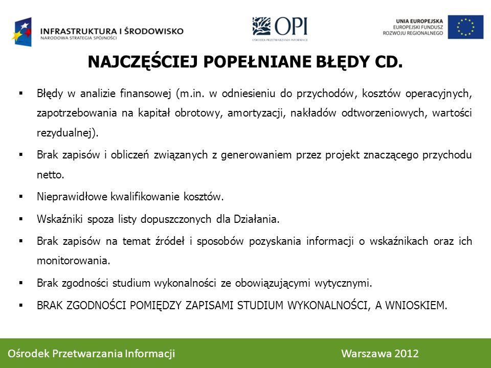 NAJCZĘŚCIEJ POPEŁNIANE BŁĘDY CD.Błędy w analizie finansowej (m.in.