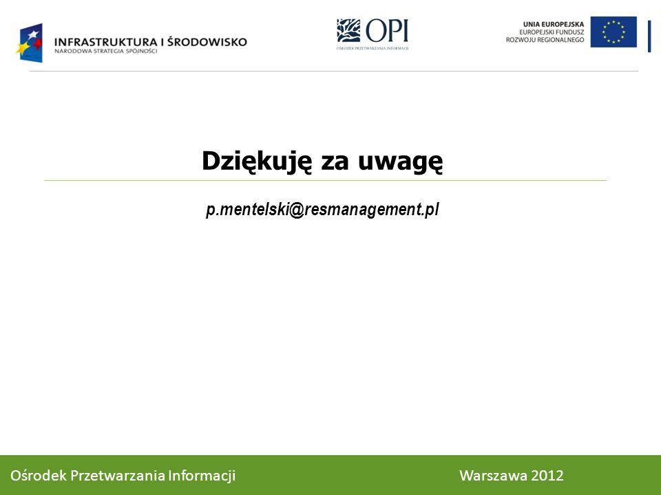 Dziękuję za uwagę p.mentelski@resmanagement.pl Ośrodek Przetwarzania Informacji Warszawa 2012
