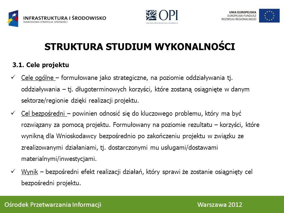 STRUKTURA STUDIUM WYKONALNOŚCI 3.1.