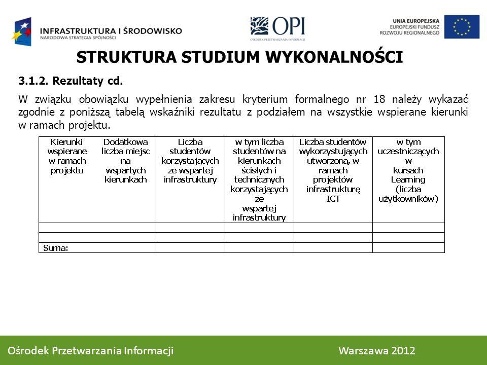 STRUKTURA STUDIUM WYKONALNOŚCI 3.1.2. Rezultaty cd. W związku obowiązku wypełnienia zakresu kryterium formalnego nr 18 należy wykazać zgodnie z poniżs